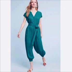 Maeve Anthropologie Jumpsuit blue with green print